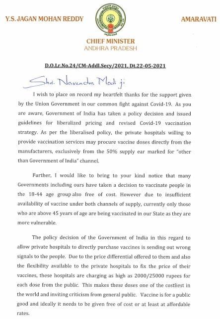 Cm Ys Jagan Letter To Pm Modi